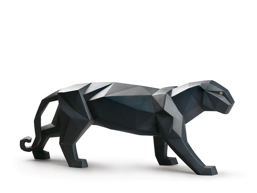 Porcelain decorative object PANTHER (BLACK MATTE) by Lladró
