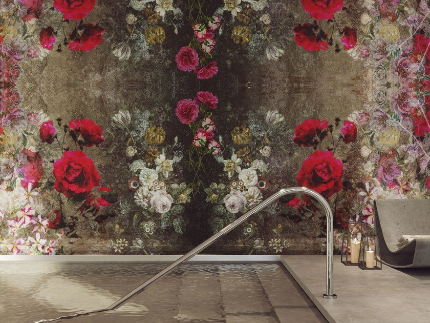 Rubber glass-fibre wallpaper with floral pattern PAOLO E FRANCESCA by Tecnografica Italian Wallcoverings