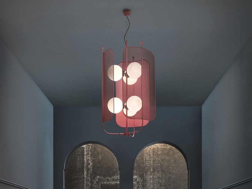 Painted metal chandelier PAPILIO S3+3 by Masiero