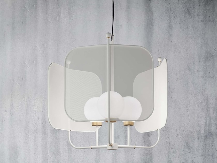 Painted metal chandelier PAPILIO S3G by Masiero