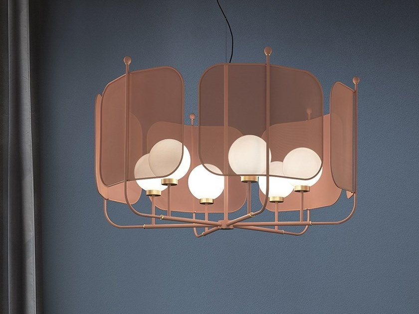 Painted metal chandelier PAPILIO S6 by Masiero