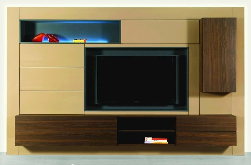 Melamine-faced chipboard TV wall system PARADOXE by ROCHE BOBOIS