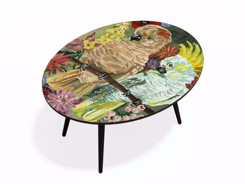 Oval Beech wood and HPL coffee table PARAKEET XL by Bazartherapy