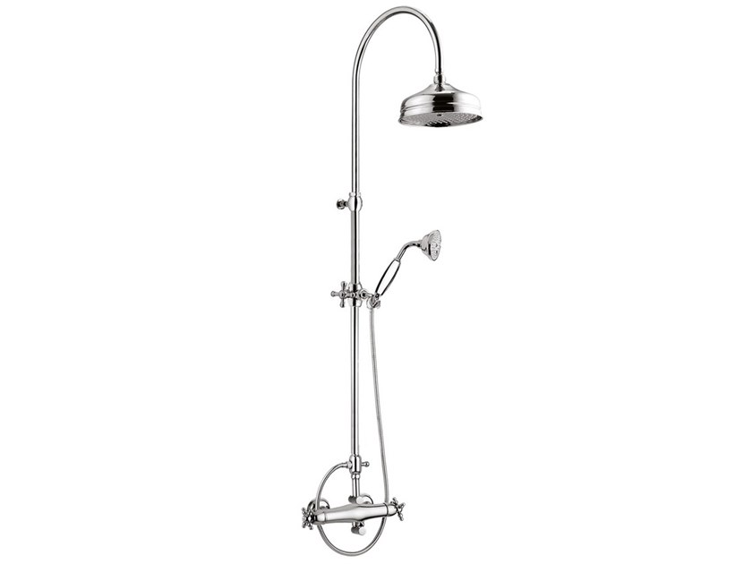 Wall-mounted thermostatic shower panel with overhead shower PARIGI - 8209-PAWC-S by Rubinetteria Giulini