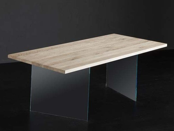 Rectangular wood and glass dining table PARIGI + ICE by AltaCorte