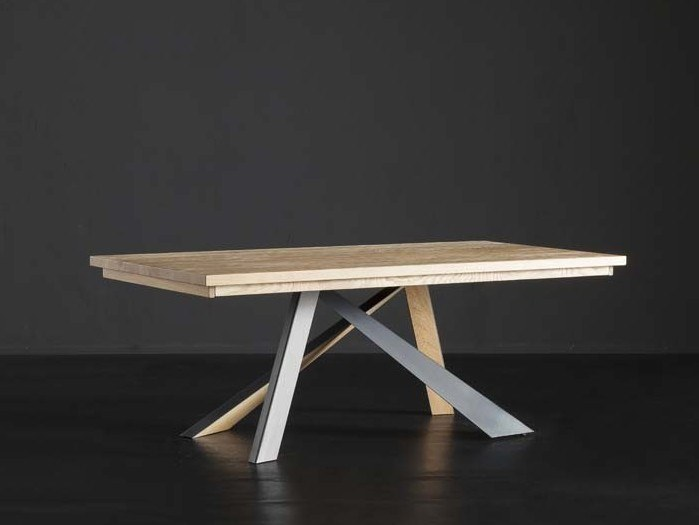 Rectangular solid wood dining table PARIGI + METAL/LEGNO by AltaCorte
