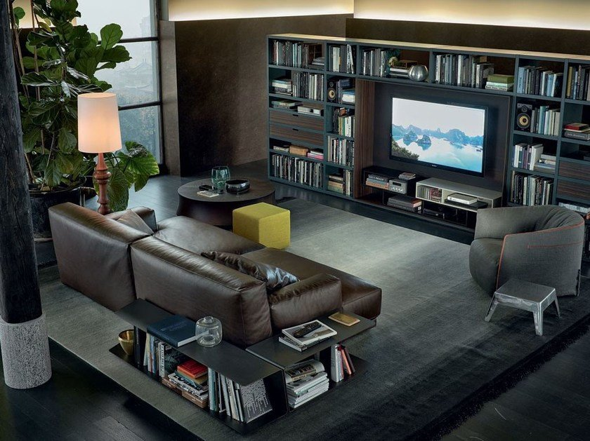 Sectional leather sofa PARIS-SEOUL | Leather sofa by poliform