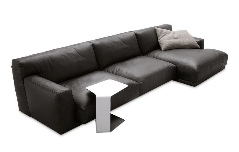 Sectional leather sofa with chaise longue PARIS-SEOUL | Sofa with chaise longue by poliform