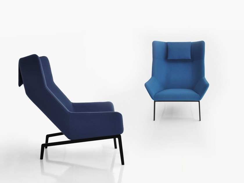 & Upholstered armchair with footstool PARK Park Collection By bensen