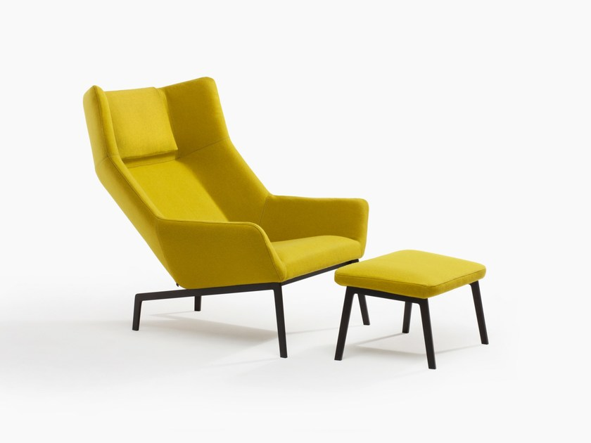 Upholstered armchair with footstool PARK by BENSEN