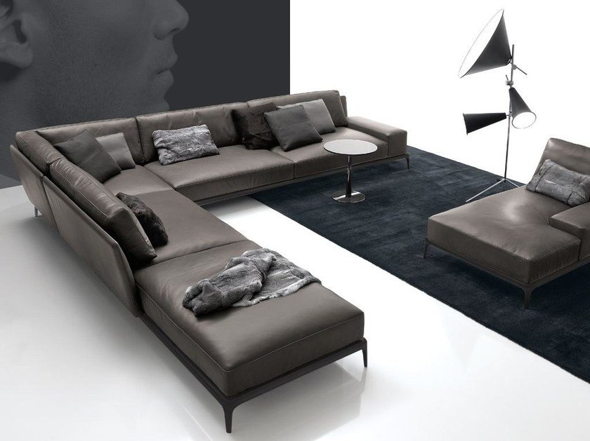 Corner sectional leather sofa with removable cover