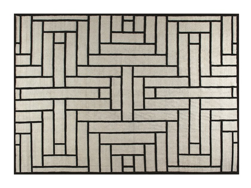Handmade rectangular rug with geometric shapes PARQUET by ROCHE BOBOIS
