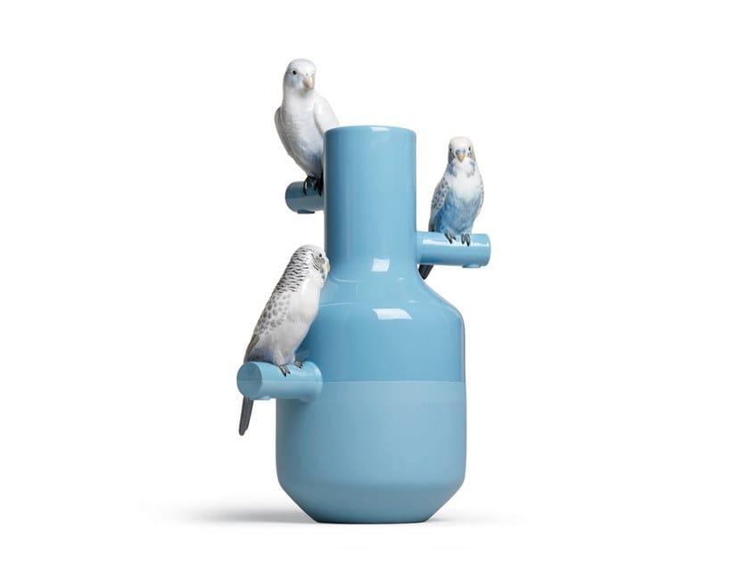Porcelain vase PARROT PARADE TURQUOISE by Lladró