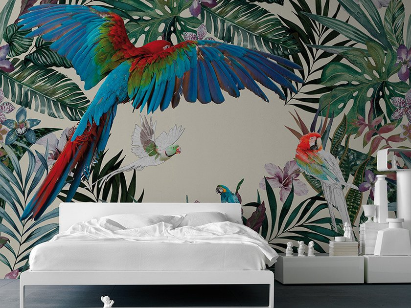 Panoramic wallpaper PARROTS by Inkiostro Bianco