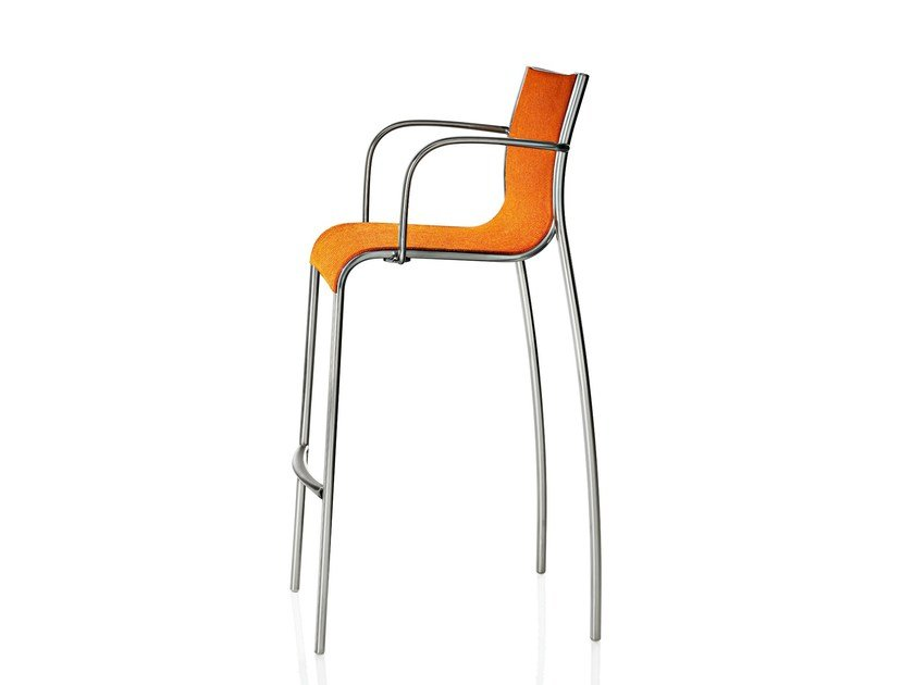 Polyester fibre chair with armrests PASO DOBLE | Chair with footrest by Magis