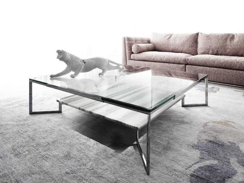 Low rectangular coffee table for living room PASO DOBLE by ERBA ITALIA