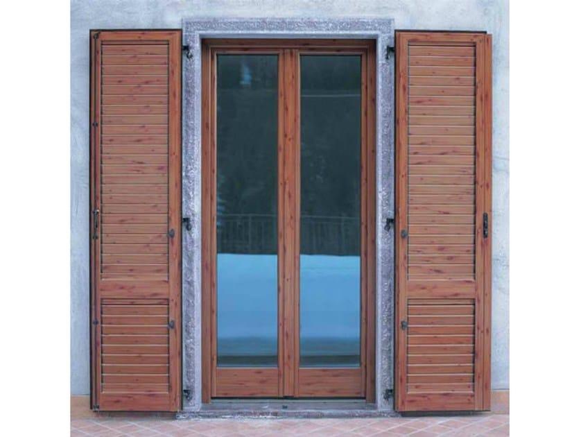 porta finestra a battente in alluminio e legno con triplo