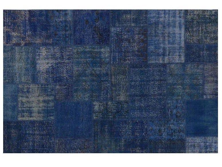 Handmade patchwork rug PATCHWORK DARK BLUE by Mohebban