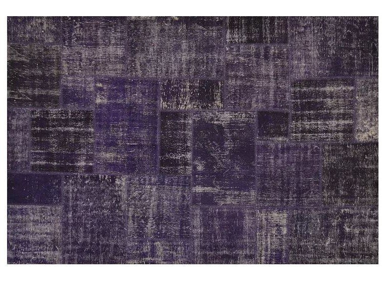Handmade patchwork rectangular rug PATCHWORK DARK PURPLE by Mohebban