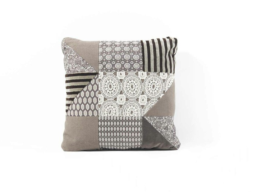 Square fabric cushion PATCHWORK by Frigerio Salotti