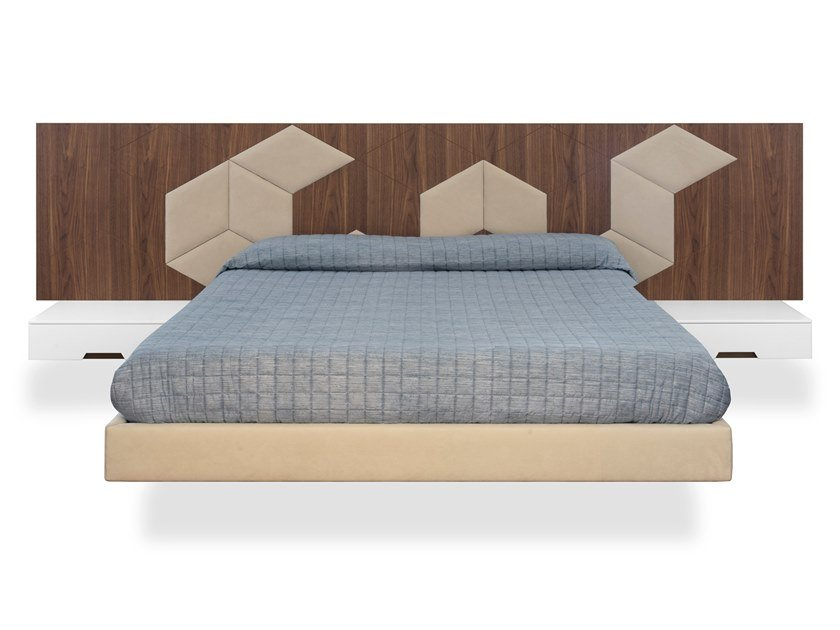 Suspended double bed with high headboard PATCHWORK | Bed by Maiullari