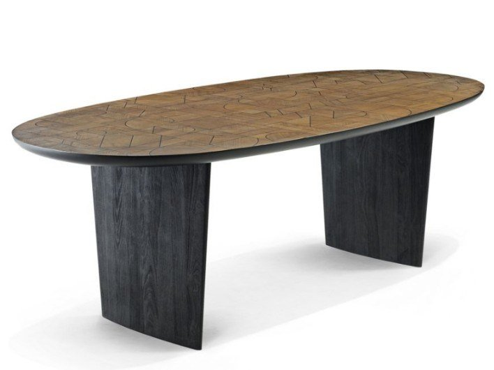 Oval solid wood table PATCHWORK | Table by ROCHE BOBOIS