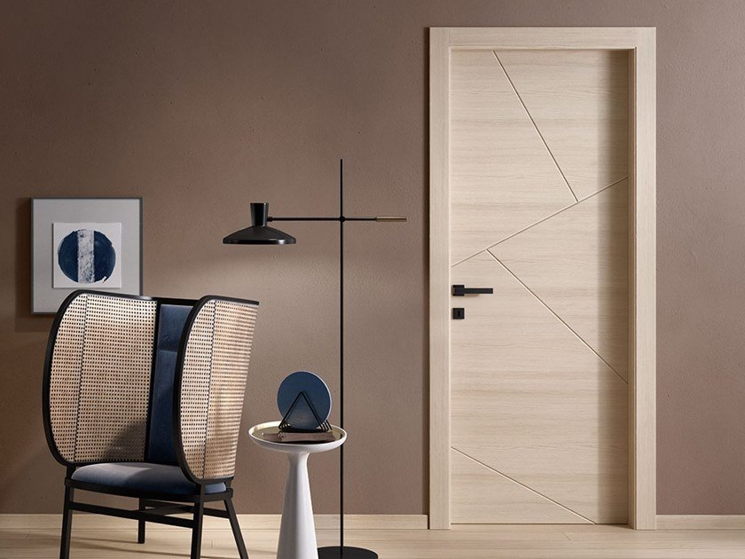 contemporary style hinged wooden door
