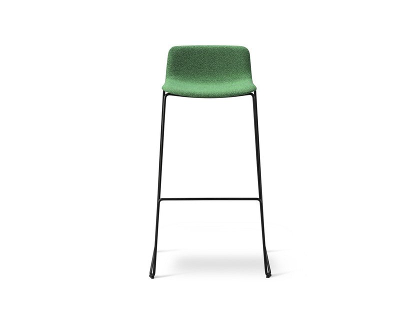 Upholstered stackable sled base stool PATO | Stackable stool by FREDERICIA FURNITURE