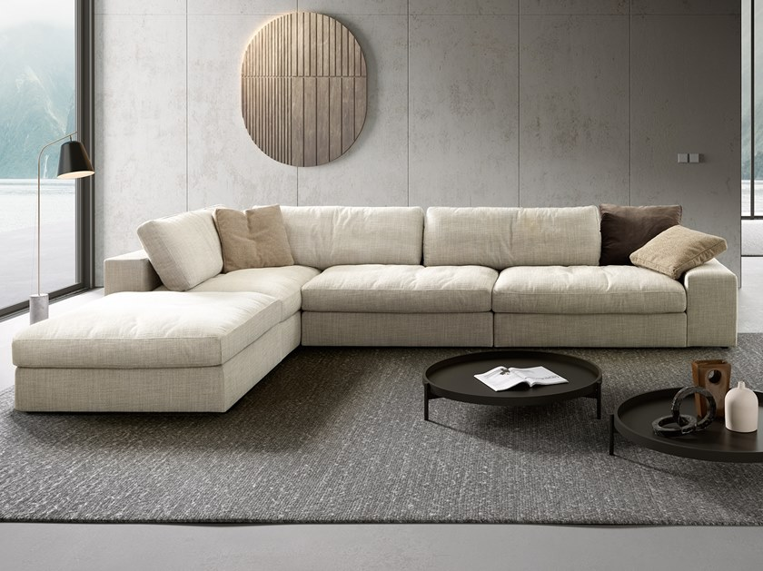 Sectional fabric sofa with chaise longue PATRICK   Sofa with chaise longue by VALENTINI