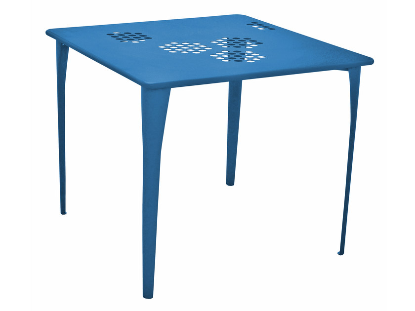 Square steel garden table PATTERN   Square table by emu