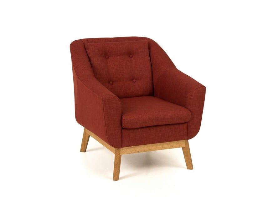 Tufted fabric armchair with armrests PAULA | Armchair by Woodman