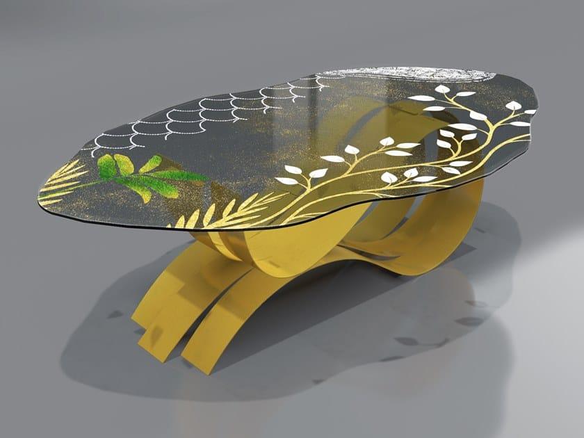 Tavolo in acciaio inox e vetro PAVONE by Unica by Tecnotelai