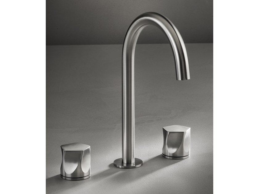 Countertop stainless steel washbasin tap with individual rosettes PE284 by MGS