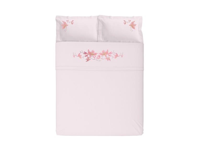 Set estivo di lenzuola raso PEACH BLOSSOM | Coordinato letto ricamato by Sans Tabù
