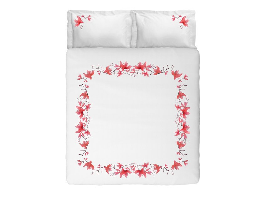 Cotton bedding set with floral pattern PEACH BLOSSOM KING SET | Cotton bedding set by Sans Tabù