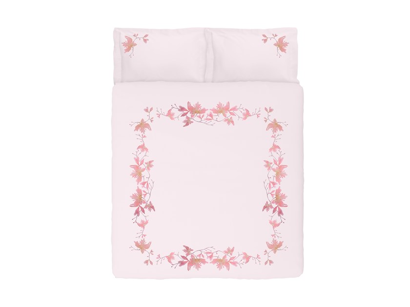 Satin bedding set with floral pattern PEACH BLOSSOM | Satin bedding set by Sans Tabù