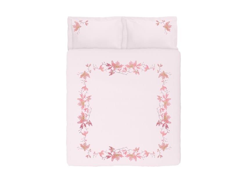 Coordinato letto in raso con motivi floreali PEACH BLOSSOM | Coordinato letto in raso by Sans Tabù