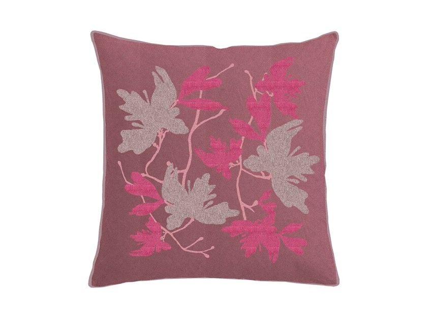 Square cotton cushion with floral pattern PEACH BLOSSOM | Cushion with floral pattern by Sans Tabù
