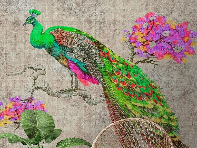Washable Digital printing wallpaper PEACOCK by Architects Paper