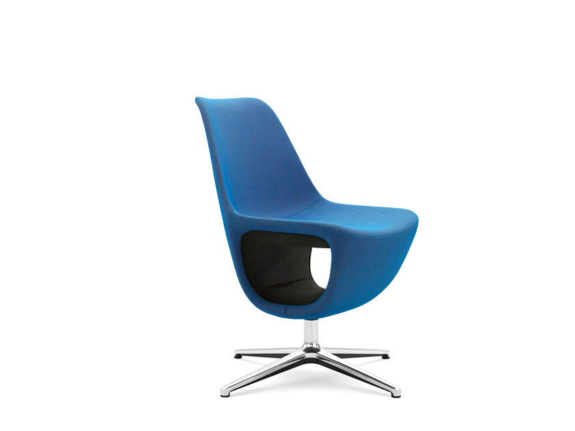 Easy chair with 4-spoke base with armrests with storage space PELIKAN 10F by profim