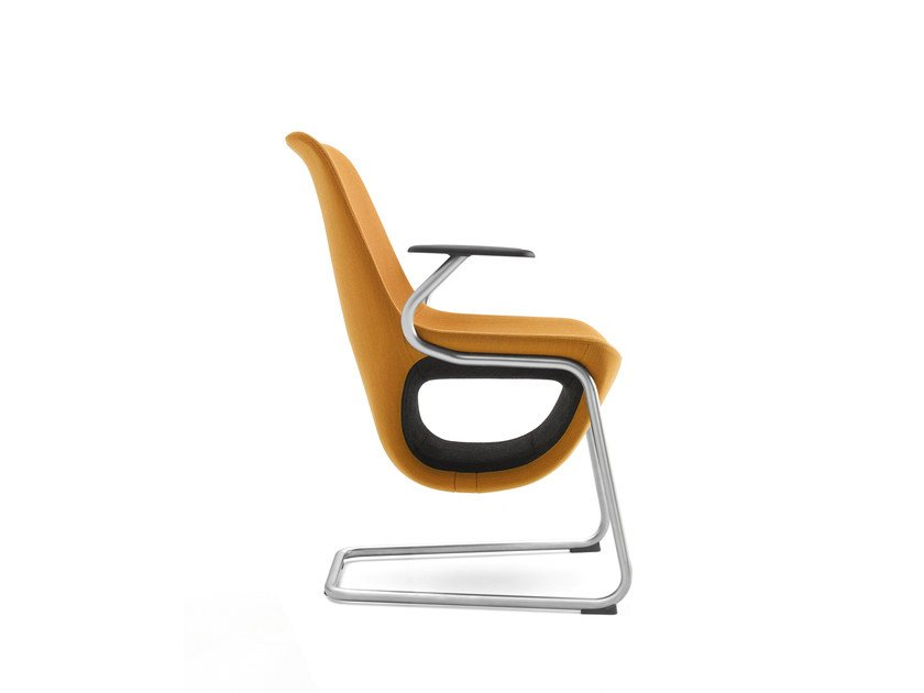 Cantilever easy chair with armrests with storage space PELIKAN 10V by profim