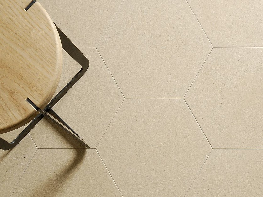 Natural stone wall/floor tiles PELLE D'UOVO ESAGONO GREIGE by TWS