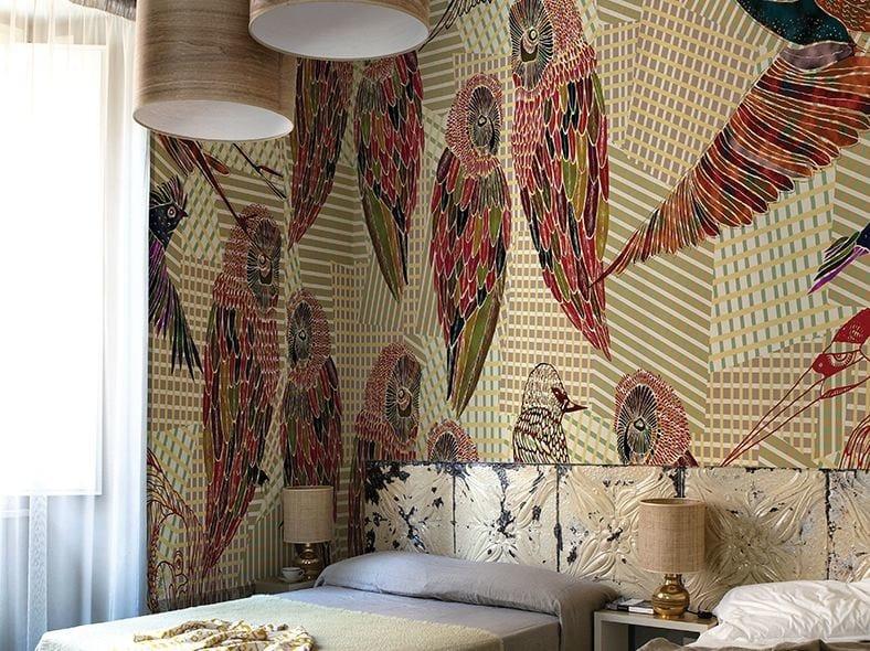 Motif wallpaper PENCIL BIRDS by Wall&decò