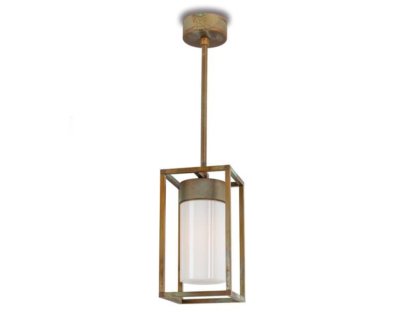 Lampada a sospensione per esterno a LED in ottone CUBIC   Lampada a sospensione per esterno by Moretti Luce