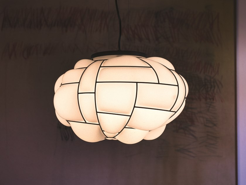 Glass and steel pendant lamp EGG | Pendant lamp by Pallucco