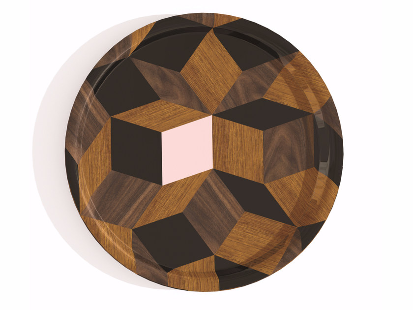 Round multi-layer wood tray PENROSE ROND SPRINGWOOD by Bazartherapy