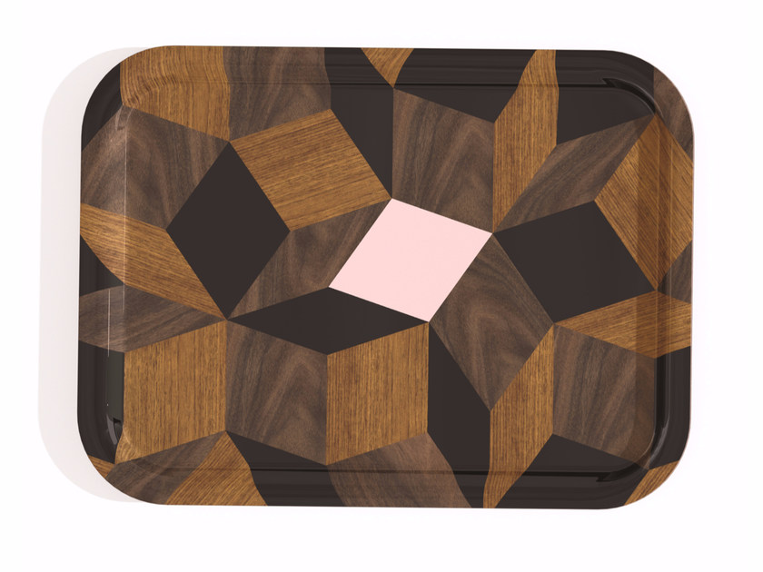 Rectangular multi-layer wood tray PENROSE SERVICE SPRINGWOOD by Bazartherapy