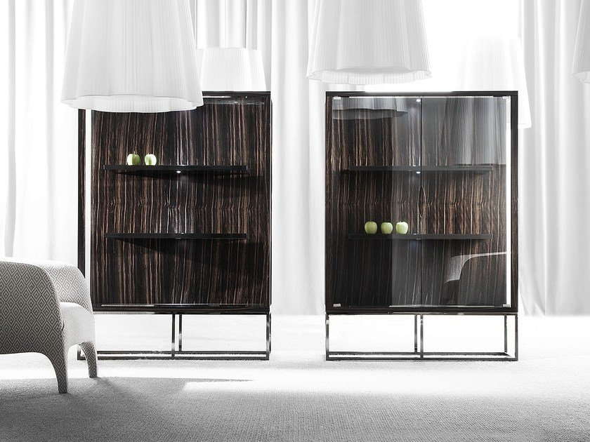 Wood and glass display cabinet PENSAMI | Display cabinet by ERBA ITALIA