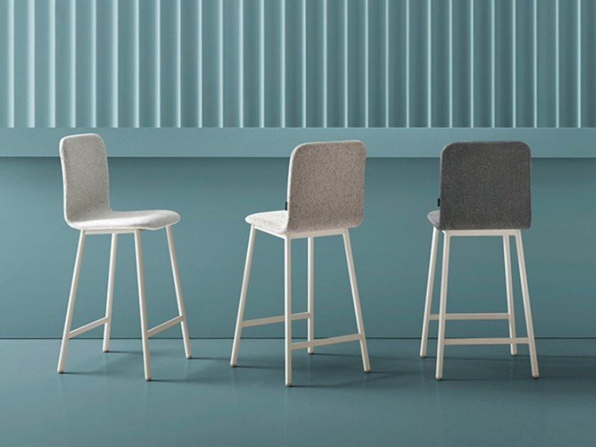 High upholstered stool with footrest PEPPER | Stool by Mobliberica