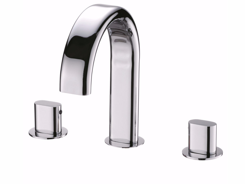 3 hole countertop chromed brass washbasin tap PERFECTO | 3 hole washbasin tap by JUSTIME
